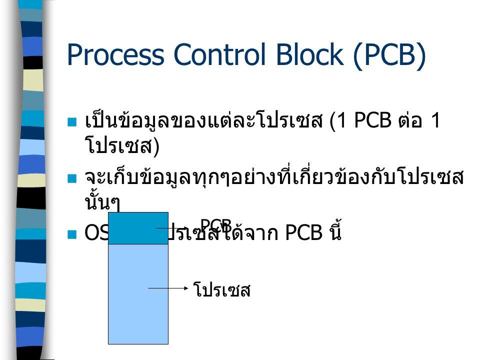 Process Control Block (PCB)  เป็นข้อมูลของแต่ละโปรเซส (1 PCB ต่อ 1 โปรเซส )  จะเก็บข้อมูลทุกๆอย่างที่เกี่ยวข้องกับโปรเซส นั้นๆ  OS รู้จักโปรเซสได้จ
