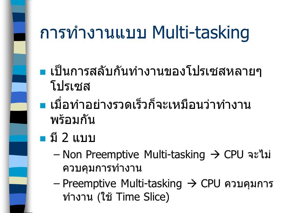 การทำงานแบบ Multi-tasking  เป็นการสลับกันทำงานของโปรเซสหลายๆ โปรเซส  เมื่อทำอย่างรวดเร็วก็จะเหมือนว่าทำงาน พร้อมกัน  มี 2 แบบ –Non Preemptive Multi