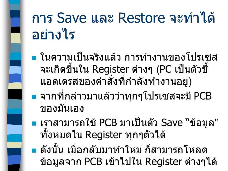 การ Save และ Restore จะทำได้ อย่างไร  ในความเป็นจริงแล้ว การทำงานของโปรเซส จะเกิดขึ้นใน Register ต่างๆ (PC เป็นตัวชี้ แอดเดรสของคำสั่งที่กำลังทำงานอย