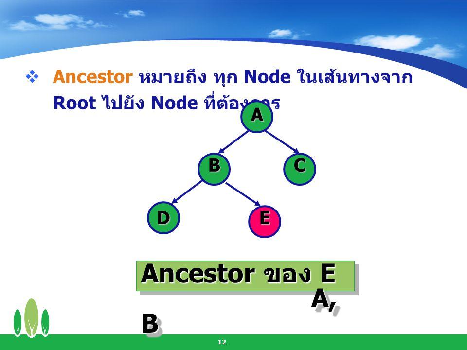 13  Descendent หมายถึง ทุก Node ในเส้นทางจาก Node ที่กำหนดไปจนถึง Leaf A BC DE Descendent ของ A B, C, D, E Descendent ของ B D,E Descendent ของ A B, C, D, E Descendent ของ B D,E