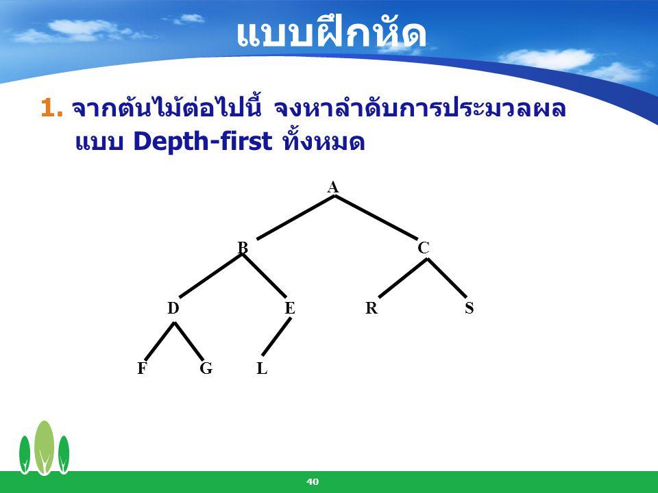 41 2. จากต้นไม้ต่อไปนี้ จงหาลำดับการประมวลผล แบบ Breath-first A B C D E R S F G L
