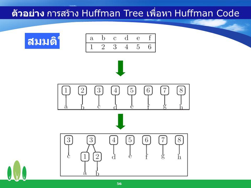 56 ตัวอย่าง การสร้าง Huffman Tree เพื่อหา Huffman Code สมมติให้