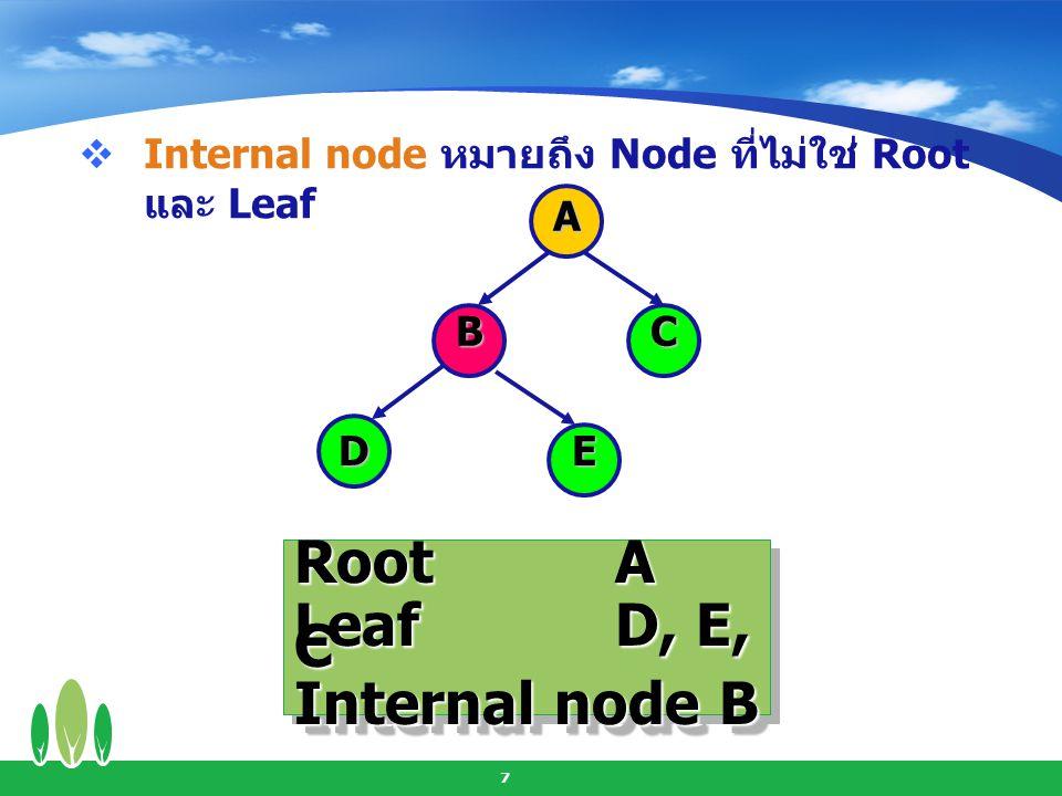 8  Parent หมายถึง Node ที่มี Outdegree A BC DE ParentA, B