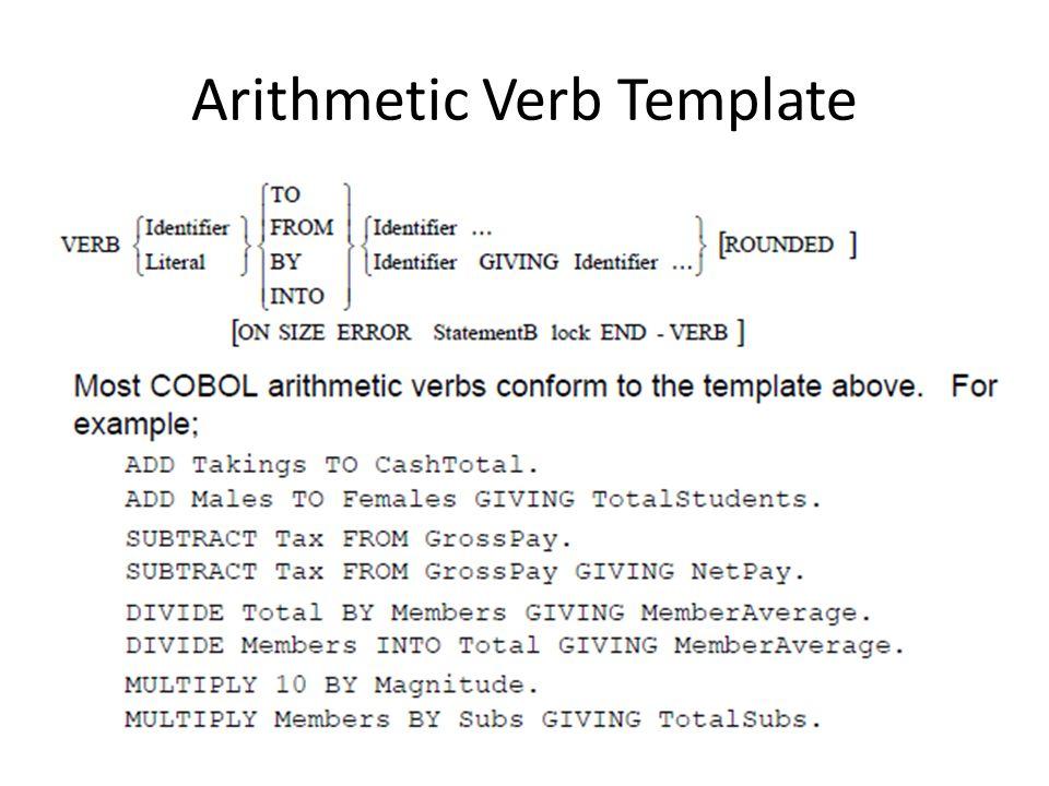 Arithmetic Verb Template