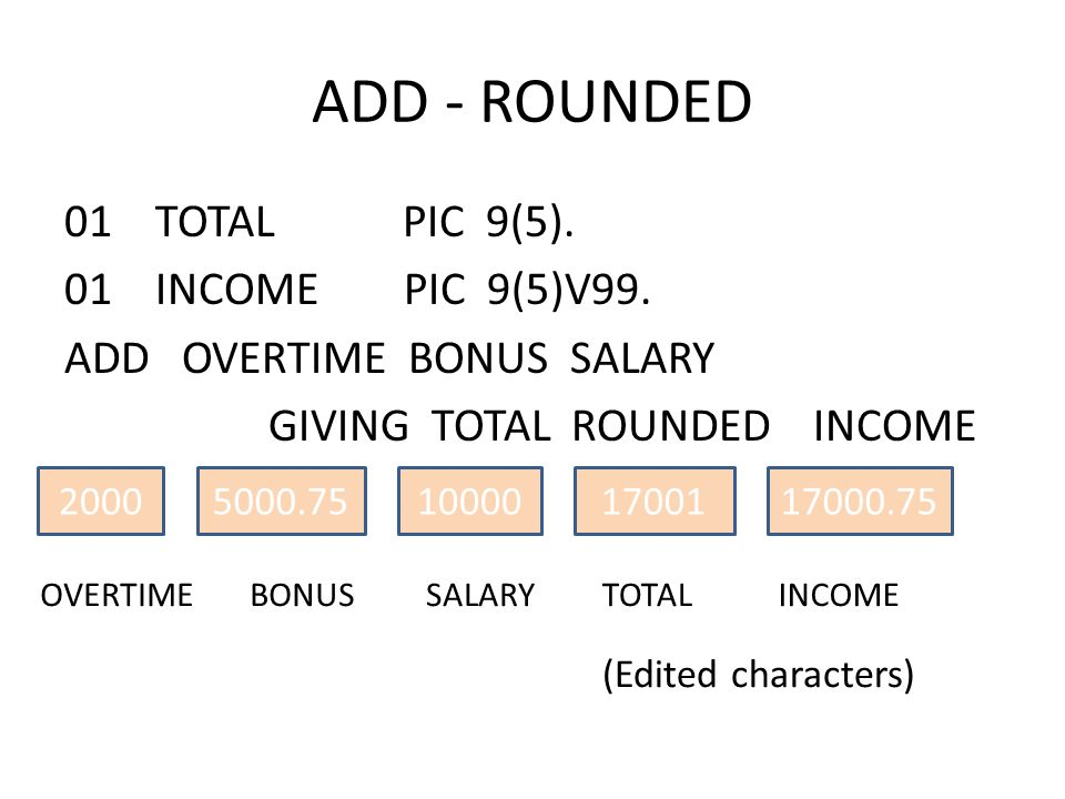 ADD - ROUNDED 01 TOTAL PIC 9(5). 01 INCOME PIC 9(5)V99. ADD OVERTIME BONUS SALARY GIVING TOTAL ROUNDED INCOME 20005000.7510000 SALARYBONUSOVERTIME (Ed