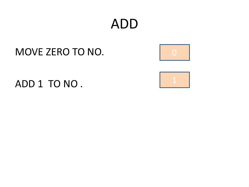 MOVE ZERO TO NO. ADD 1 TO NO. 0 1