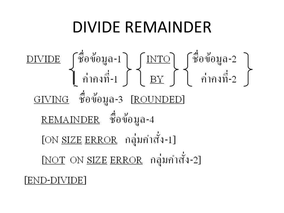 DIVIDE REMAINDER