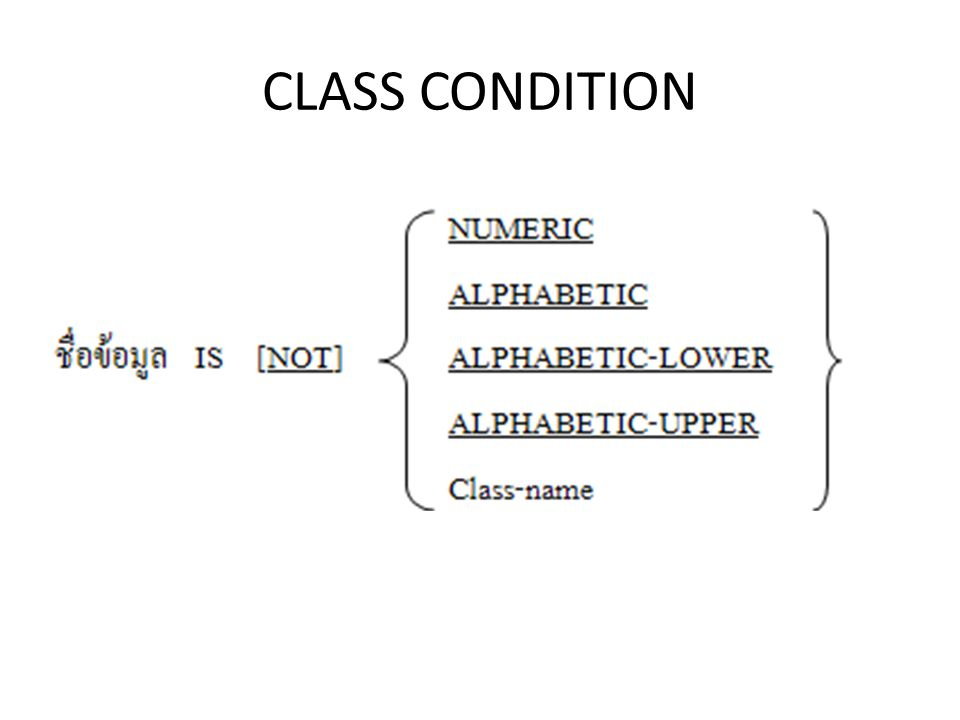 CLASS CONDITION