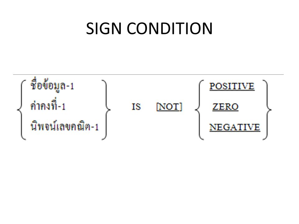 SIGN CONDITION