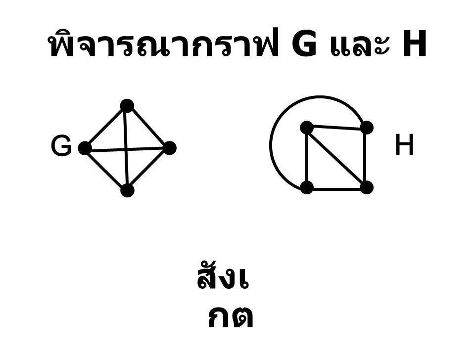 พิจารณากราฟ G และ H สังเ กต G H