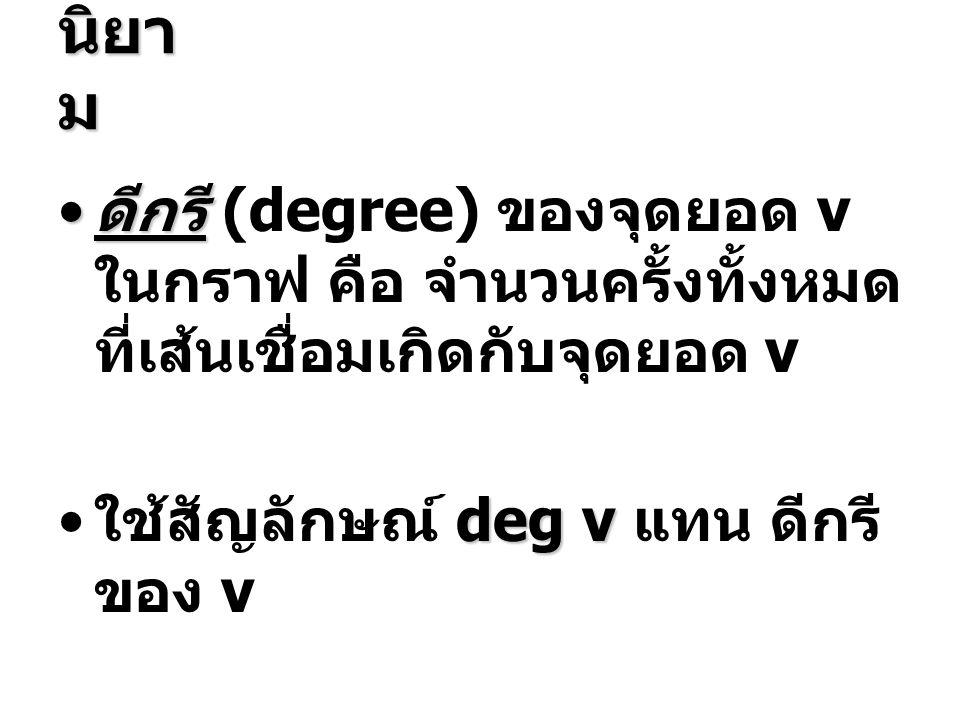 นิยา ม • ดีกรี • ดีกรี (degree) ของจุดยอด v ในกราฟ คือ จำนวนครั้งทั้งหมด ที่เส้นเชื่อมเกิดกับจุดยอด v deg v • ใช้สัญลักษณ์ deg v แทน ดีกรี ของ v