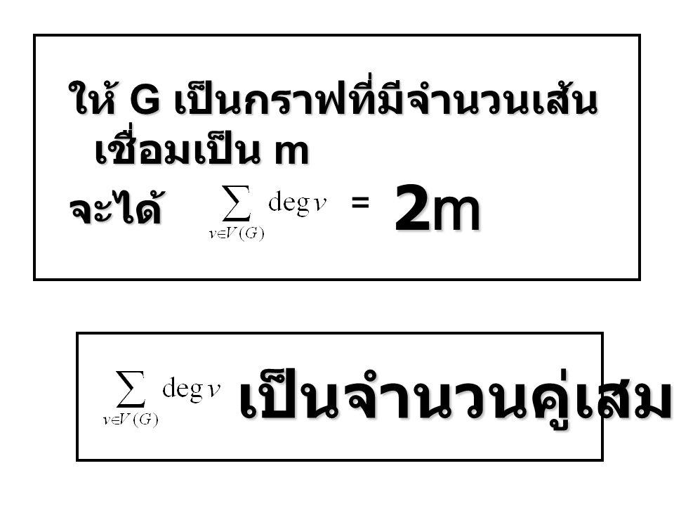 ให้ G เป็นกราฟที่มีจำนวนเส้น เชื่อมเป็น m จะได้ = 2m2m2m2m เป็นจำนวนคู่เสมอ