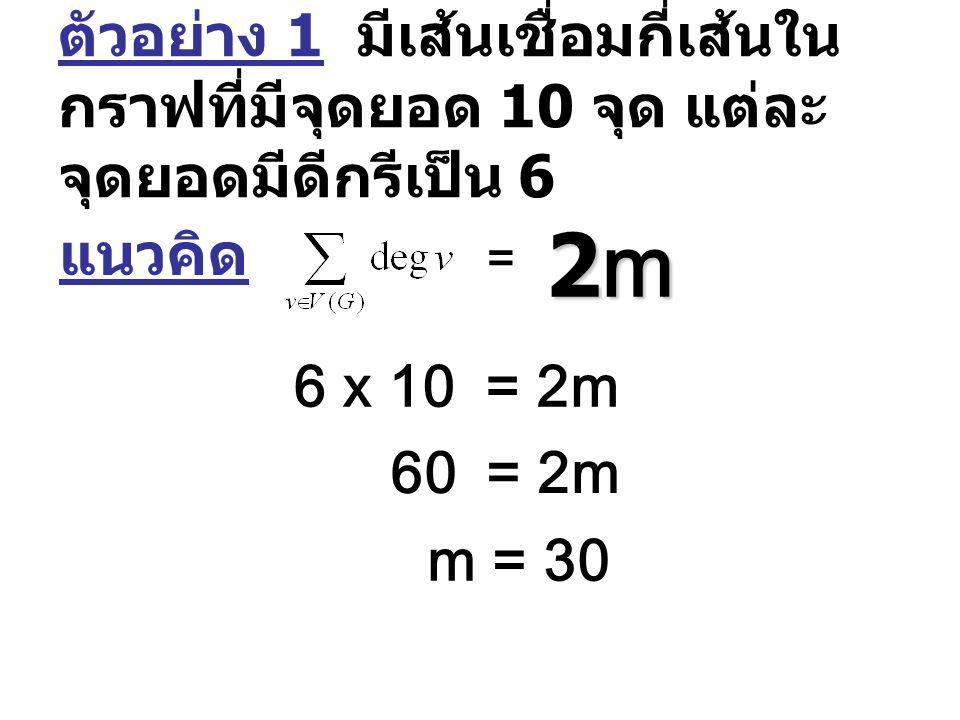 ตัวอย่าง 1 มีเส้นเชื่อมกี่เส้นใน กราฟที่มีจุดยอด 10 จุด แต่ละ จุดยอดมีดีกรีเป็น 6 แนวคิด = 2m2m2m2m 6 x 10= 2m 60= 2m m = 30