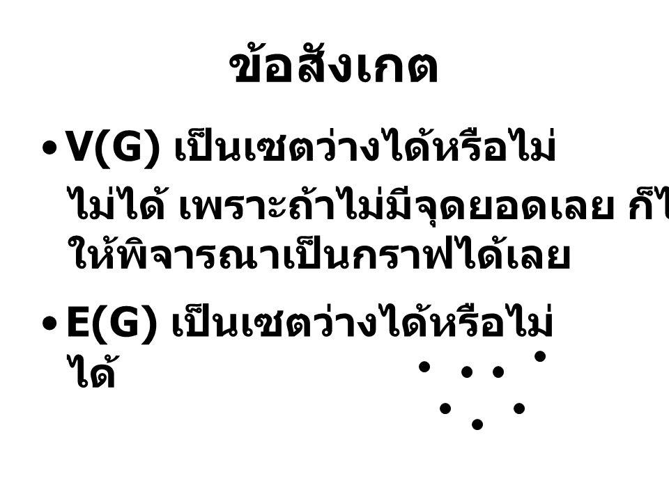 ข้อสังเกต •V(G) เป็นเซตว่างได้หรือไม่ •E(G) เป็นเซตว่างได้หรือไม่ ไม่ได้ เพราะถ้าไม่มีจุดยอดเลย ก็ไม่มีอะไร ให้พิจารณาเป็นกราฟได้เลย ได้
