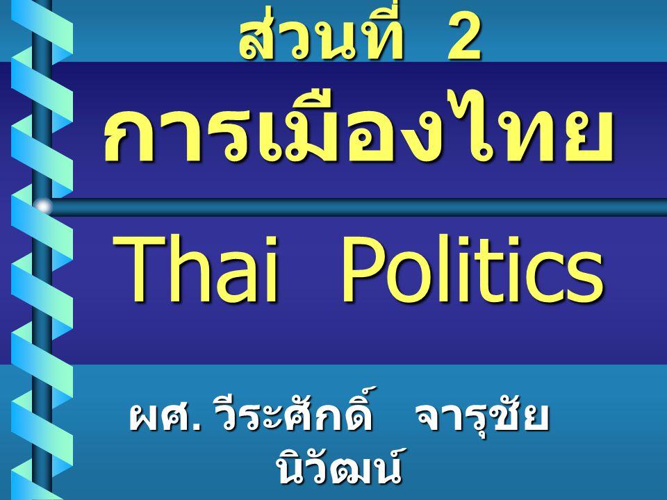 ส่วนที่ 2 การเมืองไทย Thai Politics ผศ. วีระศักดิ์ จารุชัย นิวัฒน์
