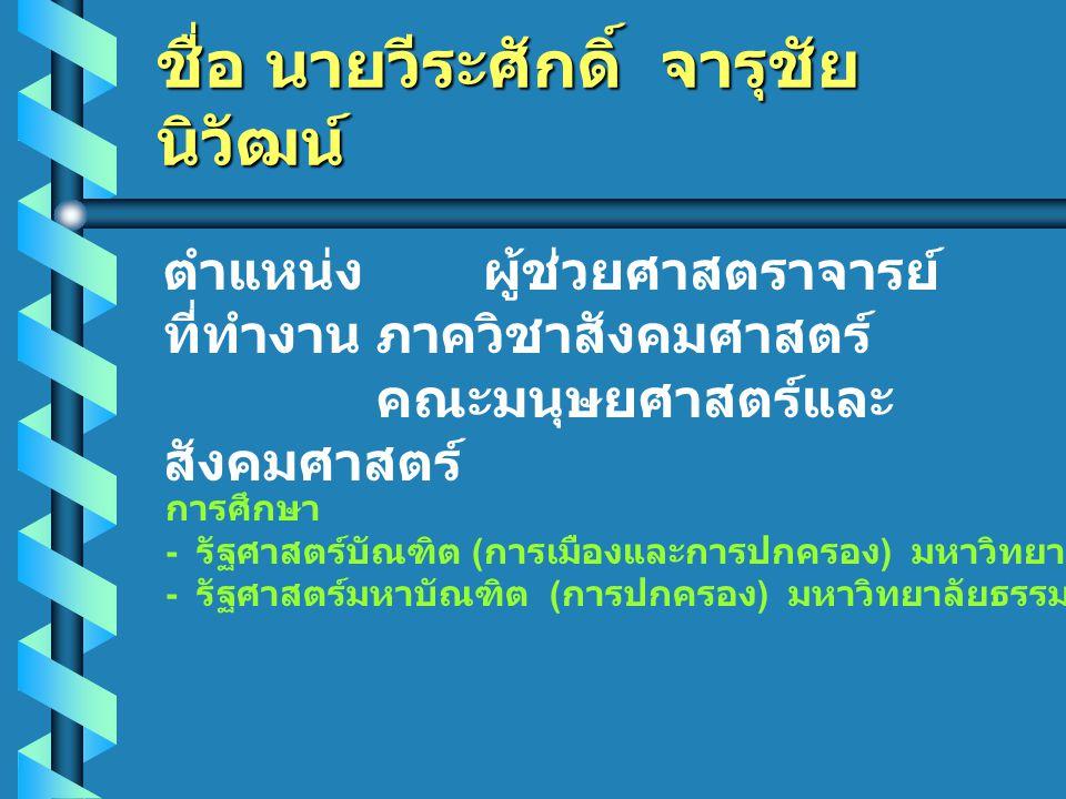 ชื่อ นายวีระศักดิ์ จารุชัย นิวัฒน์ ตำแหน่ง ผู้ช่วยศาสตราจารย์ ที่ทำงานภาควิชาสังคมศาสตร์ คณะมนุษยศาสตร์และ สังคมศาสตร์ การศึกษา - รัฐศาสตร์บัณฑิต ( การเมืองและการปกครอง ) มหาวิทยาลัยธรรมศาสตร์ - รัฐศาสตร์มหาบัณฑิต ( การปกครอง ) มหาวิทยาลัยธรรมศาสตร์