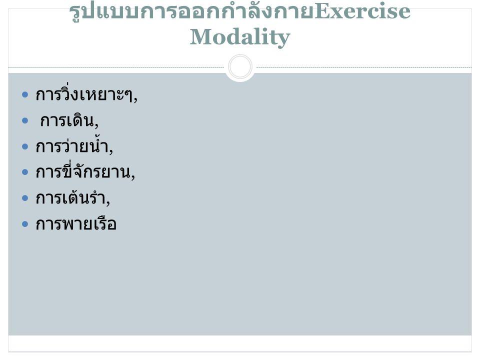 25/03/55 รูปแบบการออกกำลังกาย Exercise Modality  การวิ่งเหยาะๆ,  การเดิน,  การว่ายน้ำ,  การขี่จักรยาน,  การเต้นรำ,  การพายเรือ
