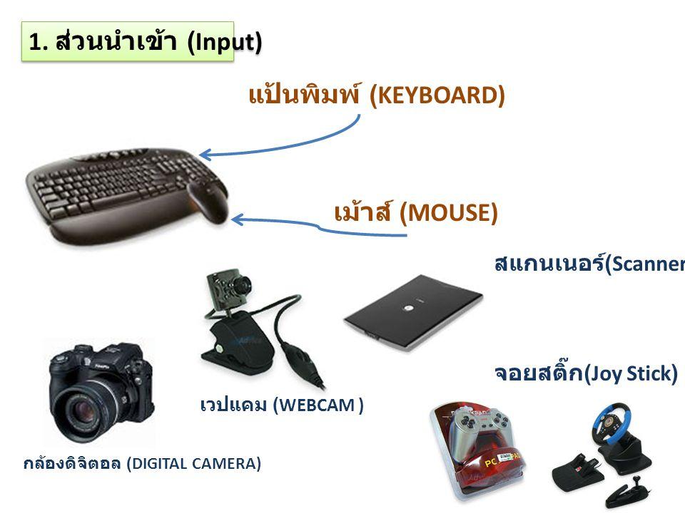 1. ส่วนนำเข้า (Input) แป้นพิมพ์ (KEYBOARD) เม้าส์ (MOUSE) กล้องดิจิตอล (DIGITAL CAMERA) เวปแคม (WEBCAM ) สแกนเนอร์ (Scanner) จอยสติ๊ก (Joy Stick)