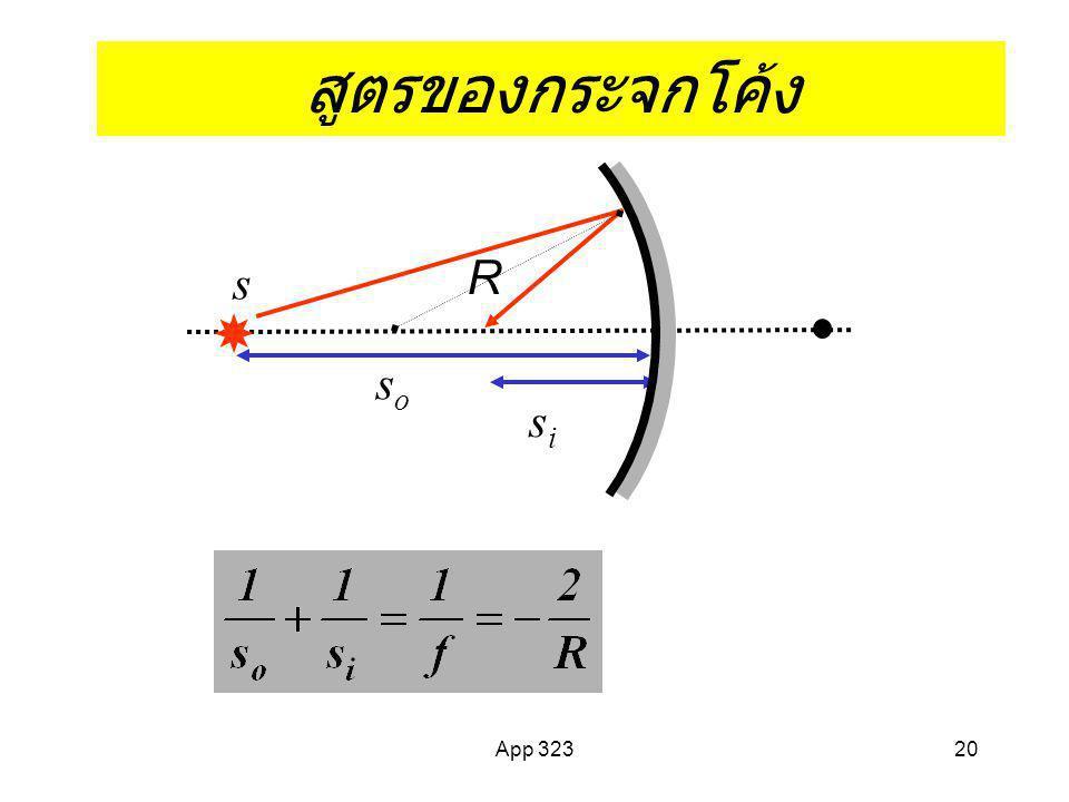 App 32319 การสะท้อนบนผิวโค้งทรงกลม Paraxial ray approx. y << R ; f= R/2