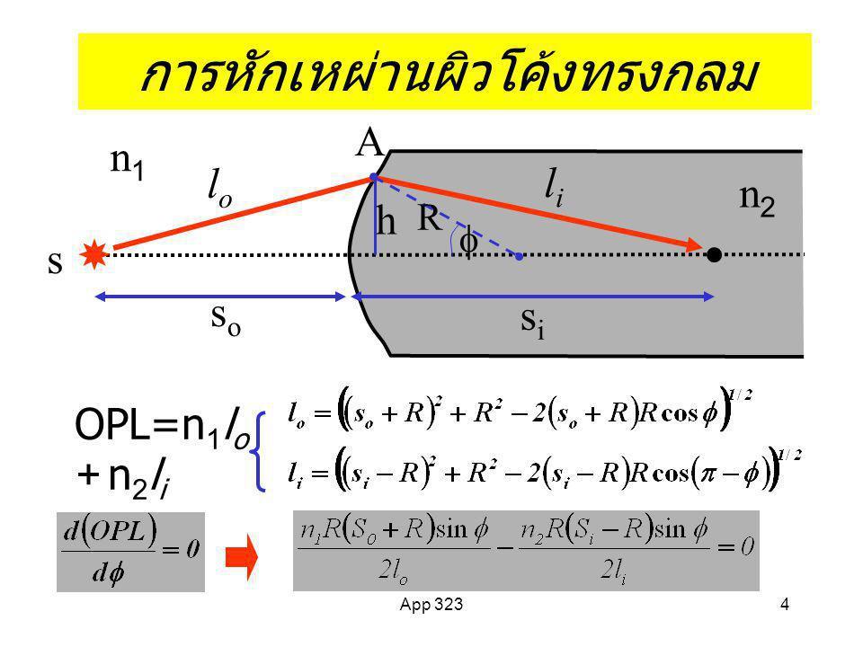 4 การหักเหผ่านผิวโค้งทรงกลม OPL=n 1 l o + n 2 l i s A n1n1 soso sisi lili h lolo R  n2n2
