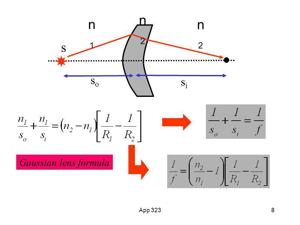 App 3238 s n1n1 n2n2 sisi soso n2n2 Gaussian lens formula