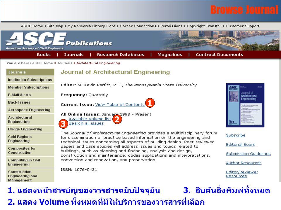 Browse Journal 1. แสดงหน้าสารบัญของวารสารฉบับปัจจุบัน3.