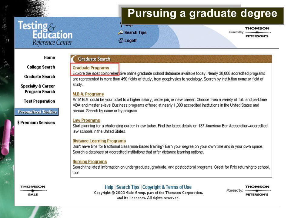Pursuing a graduate degree