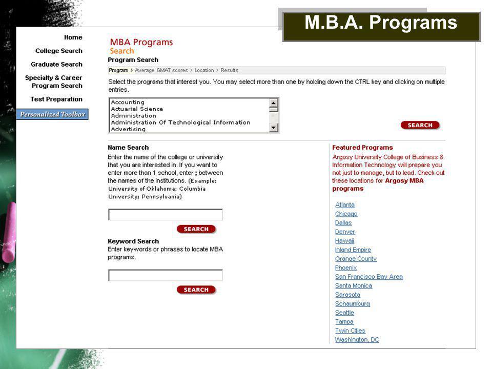 M.B.A. Programs