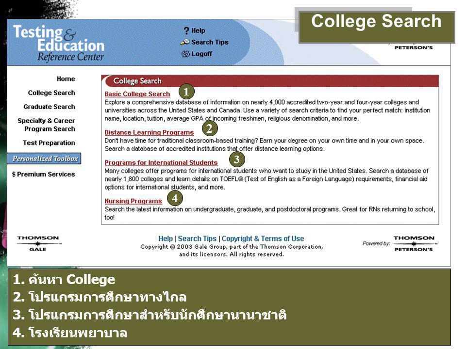 1 1. ค้นหา College 2. โปรแกรมการศึกษาทางไกล 3. โปรแกรมการศึกษาสำหรับนักศึกษานานาชาติ 4. โรงเรียนพยาบาล 2 3 4 College Search