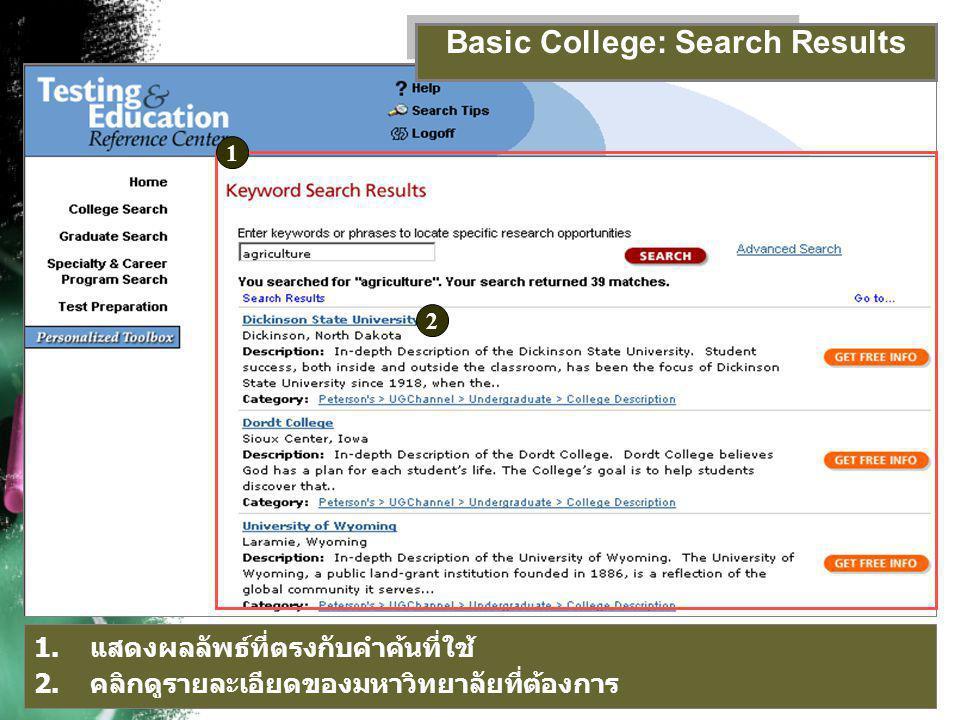 รายละเอียดของสถาบันการศึกษา Basic College: Results