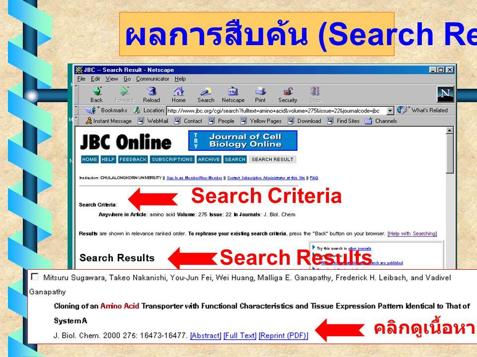 ผลการสืบค้น (Search Results) Search Criteria Search Results คลิกดูเนื้อหา