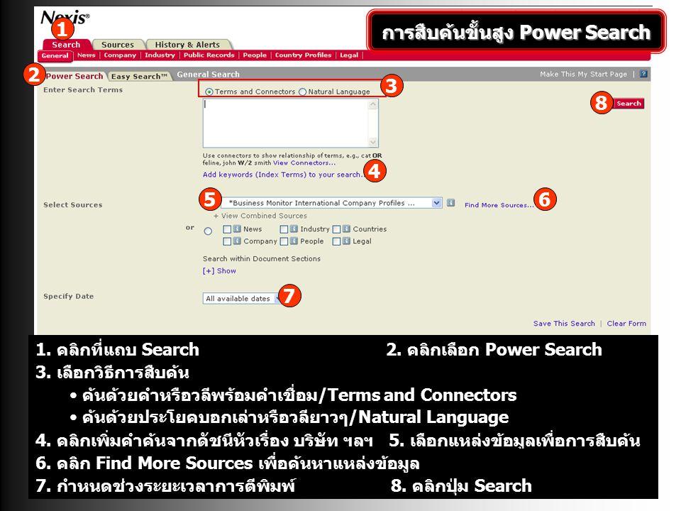 การสืบค้นขั้นสูง Power Search 1. คลิกที่แถบ Search 2. คลิกเลือก Power Search 4. คลิกเพิ่มคำค้นจากดัชนีหัวเรื่อง บริษัท ฯลฯ 5. เลือกแหล่งข้อมูลเพื่อการ