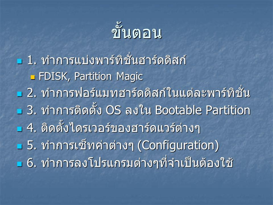 ขั้นตอน  1. ทำการแบ่งพาร์ทิชั่นฮาร์ดดิสก์  FDISK, Partition Magic  2. ทำการฟอร์แมทฮาร์ดดิสก์ในแต่ละพาร์ทิชั่น  3. ทำการติดตั้ง OS ลงใน Bootable Pa