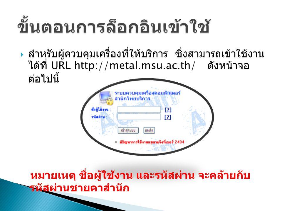  สำหรับผู้ควบคุมเครื่องที่ให้บริการ ซึ่งสามารถเข้าใช้งาน ได้ที่ URL http://metal.msu.ac.th/ ดังหน้าจอ ต่อไปนี้ หมายเหตุ ชื่อผู้ใช้งาน และรหัสผ่าน จะคล้ายกับ รหัสผ่านชายคาสำนัก