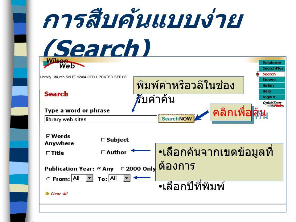 การสืบค้นแบบ SearchPlus • เพิ่มทางเลือกในการ สืบค้น • ให้ใช้ and, or, not • จำกัดการสืบค้น เฉพาะ Field, Full Text หรือ Peer Reviewed • กำหนดปีที่พิมพ์