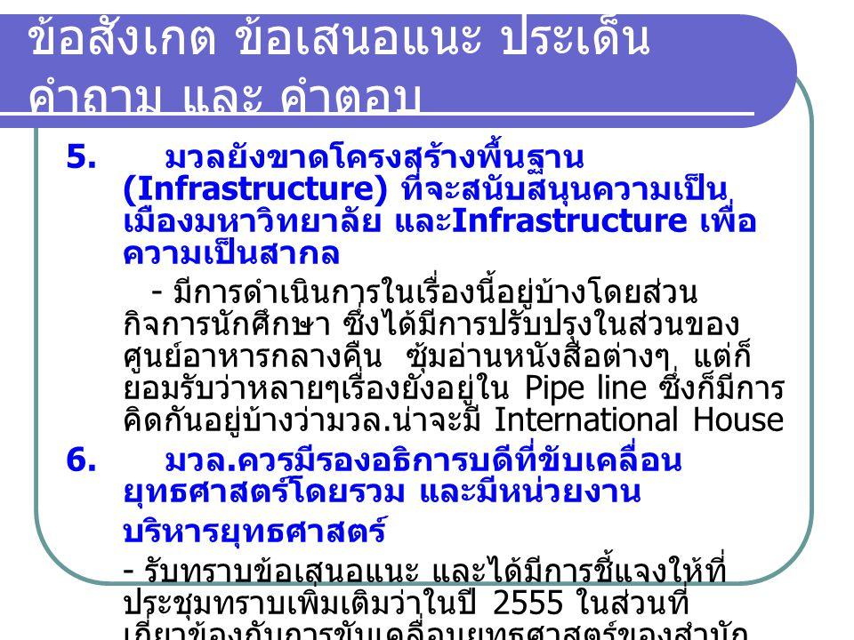ข้อสังเกต ข้อเสนอแนะ ประเด็น คำถาม และ คำตอบ 5. มวลยังขาดโครงสร้างพื้นฐาน (Infrastructure) ที่จะสนับสนุนความเป็น เมืองมหาวิทยาลัย และ Infrastructure เ