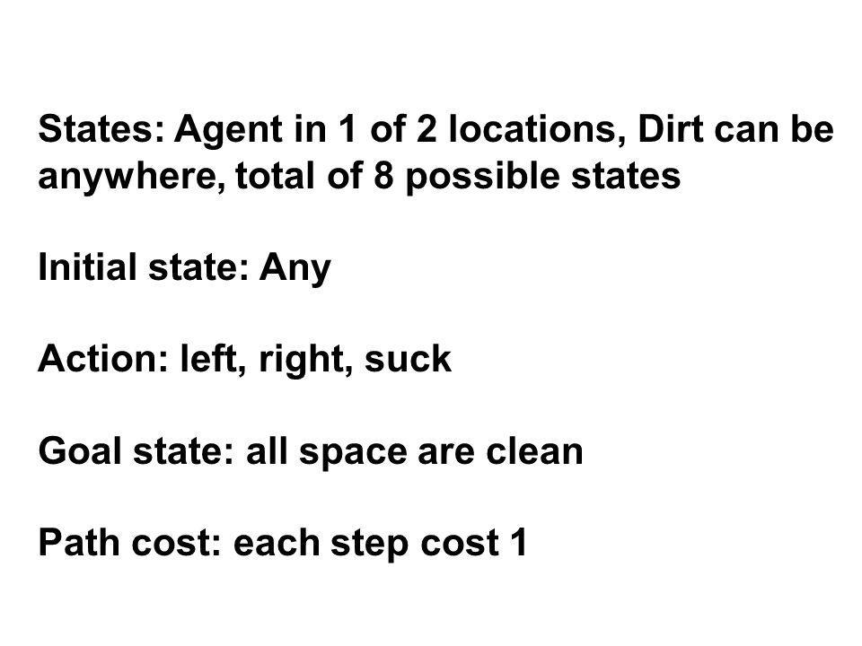 States: Agent in 1 of 2 locations, Dirt can be anywhere, total of 8 possible states Initial state: Any Action: left, right, suck Goal state: all space