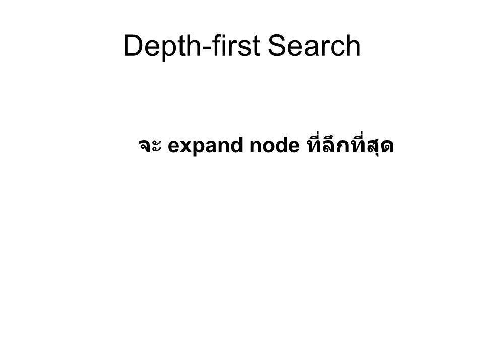 Depth-first Search จะ expand node ที่ลึกที่สุด