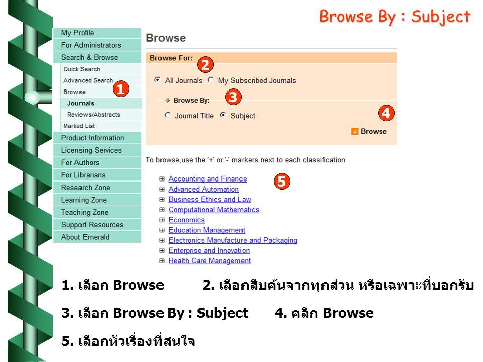 Browse By : Subject 1 1. เลือก Browse 2 2. เลือกสืบค้นจากทุกส่วน หรือเฉพาะที่บอกรับ 3 3. เลือก Browse By : Subject 4 4. คลิก Browse 5 5. เลือกหัวเรื่อ