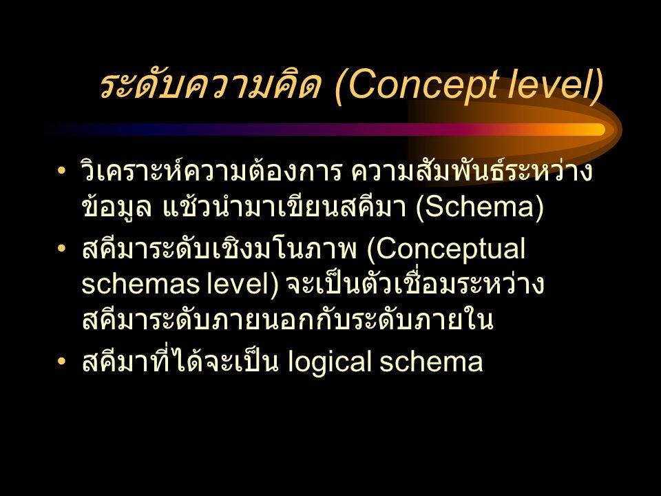 ระดับความคิด (Concept level) • วิเคราะห์ความต้องการ ความสัมพันธ์ระหว่าง ข้อมูล แช้วนำมาเขียนสคีมา (Schema) • สคีมาระดับเชิงมโนภาพ (Conceptual schemas
