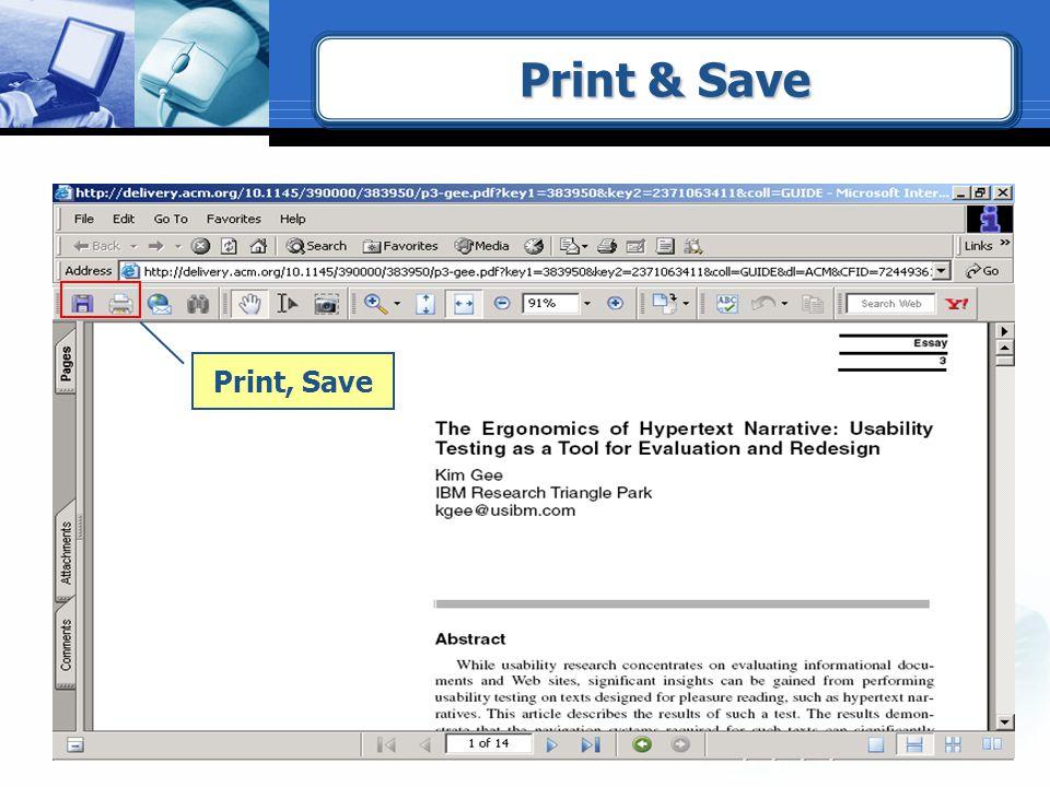 Print, Save Print & Save