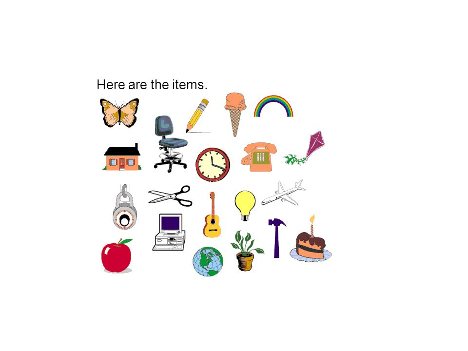 Here are the items.