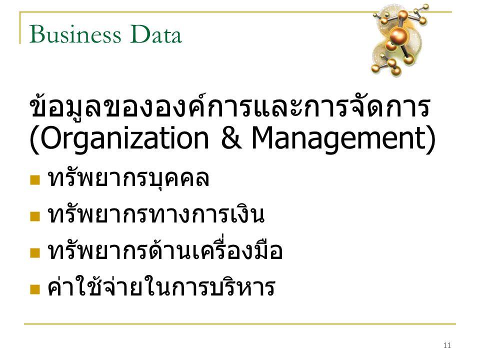 11 Business Data ข้อมูลขององค์การและการจัดการ (Organization & Management)  ทรัพยากรบุคคล  ทรัพยากรทางการเงิน  ทรัพยากรด้านเครื่องมือ  ค่าใช้จ่ายใน