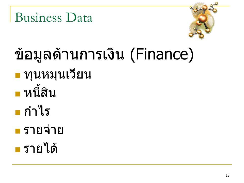 12 Business Data ข้อมูลด้านการเงิน (Finance)  ทุนหมุนเวียน  หนี้สิน  กำไร  รายจ่าย  รายได้
