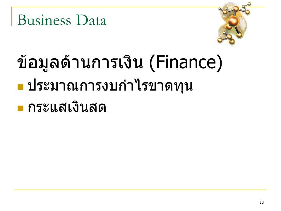 13 Business Data ข้อมูลด้านการเงิน (Finance)  ประมาณการงบกำไรขาดทุน  กระแสเงินสด