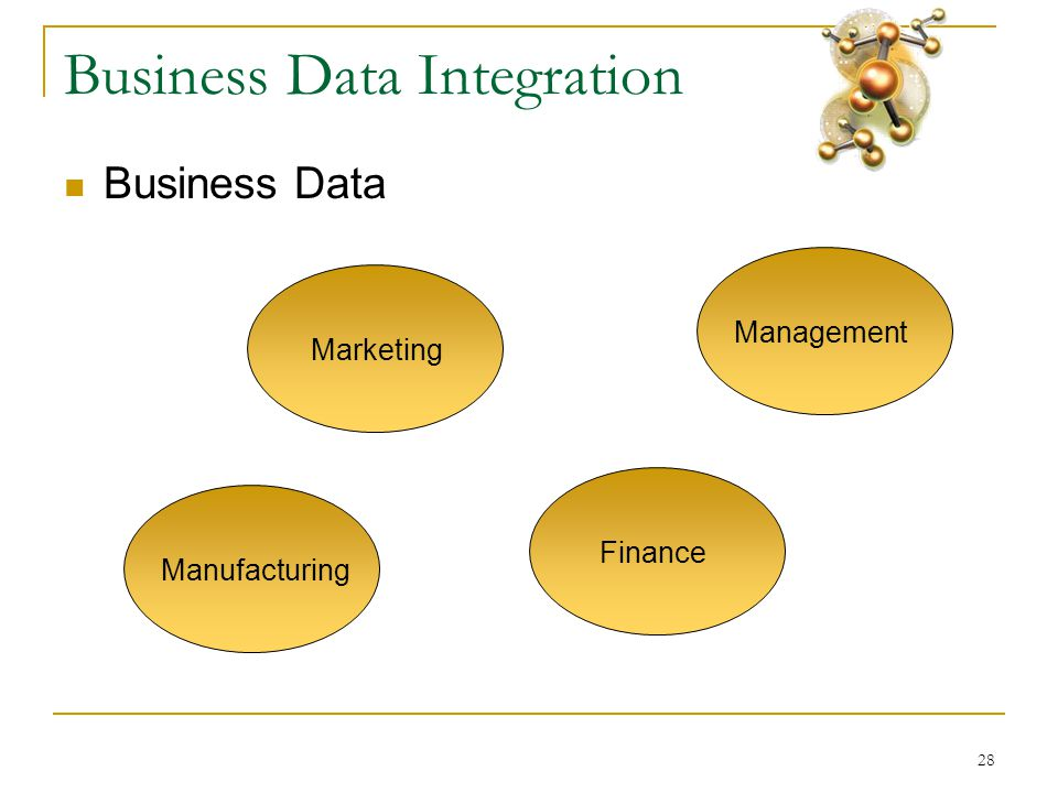 28 Business Data Integration  Business Data Marketing Finance Management Manufacturing