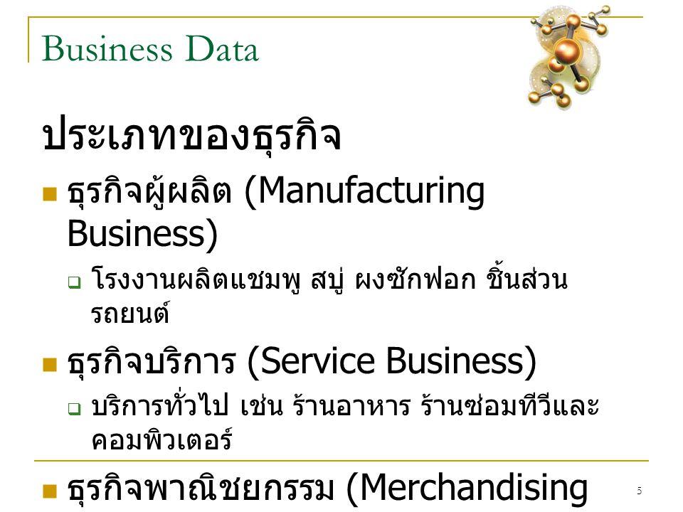 5 Business Data ประเภทของธุรกิจ  ธุรกิจผู้ผลิต (Manufacturing Business)  โรงงานผลิตแชมพู สบู่ ผงซักฟอก ชิ้นส่วน รถยนต์  ธุรกิจบริการ (Service Business)  บริการทั่วไป เช่น ร้านอาหาร ร้านซ่อมทีวีและ คอมพิวเตอร์  ธุรกิจพาณิชยกรรม (Merchandising Business)  ซื้อมาขาไปเช่น เปิดร้านมินิมาร์ หรือร้านค้าปลีก / ค้าส่งโดยทั่วไป