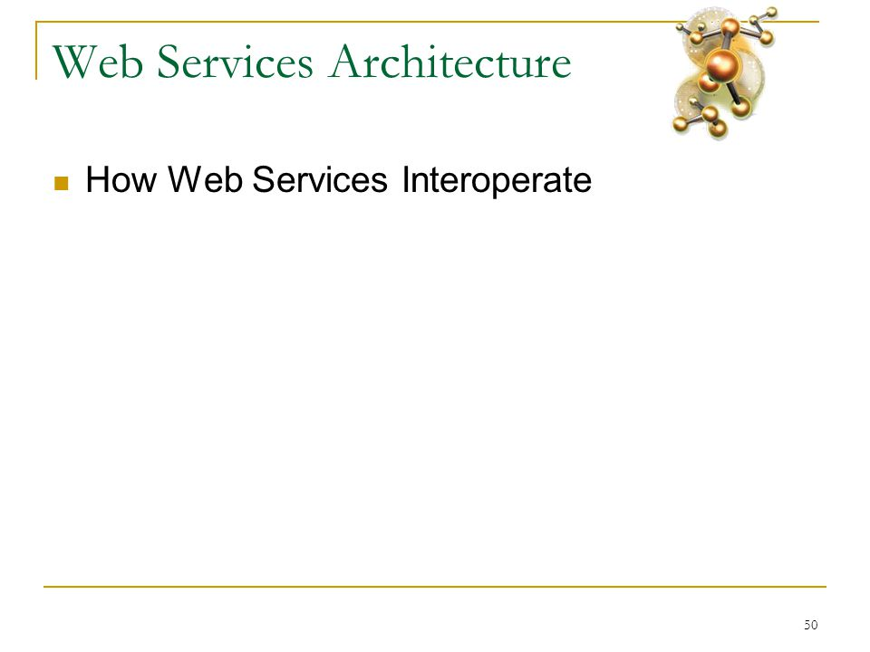 50 Web Services Architecture  How Web Services Interoperate