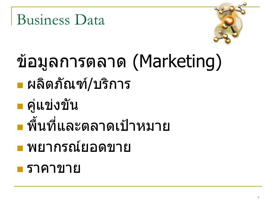 7 Business Data ข้อมูลการตลาด (Marketing)  ผลิตภัณฑ์ / บริการ  คู่แข่งขัน  พื้นที่และตลาดเป้าหมาย  พยากรณ์ยอดขาย  ราคาขาย