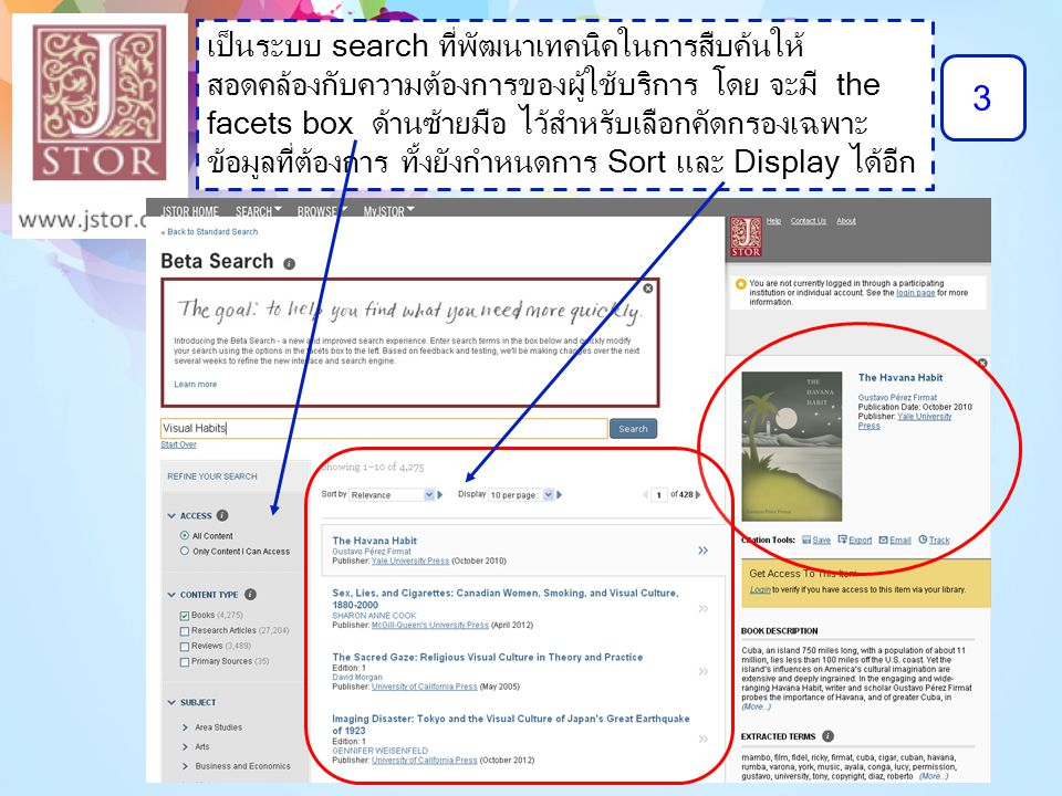 3 เป็นระบบ search ที่พัฒนาเทคนิคในการสืบค้นให้ สอดคล้องกับความต้องการของผู้ใช้บริการ โดย จะมี the facets box ด้านซ้ายมือ ไว้สำหรับเลือกคัดกรองเฉพาะ ข้
